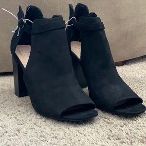 Black cut out heels booties